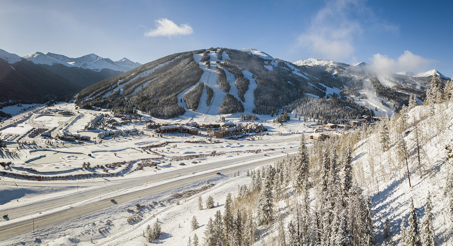 A look from above of Copper Mountain, Colorado ski resort