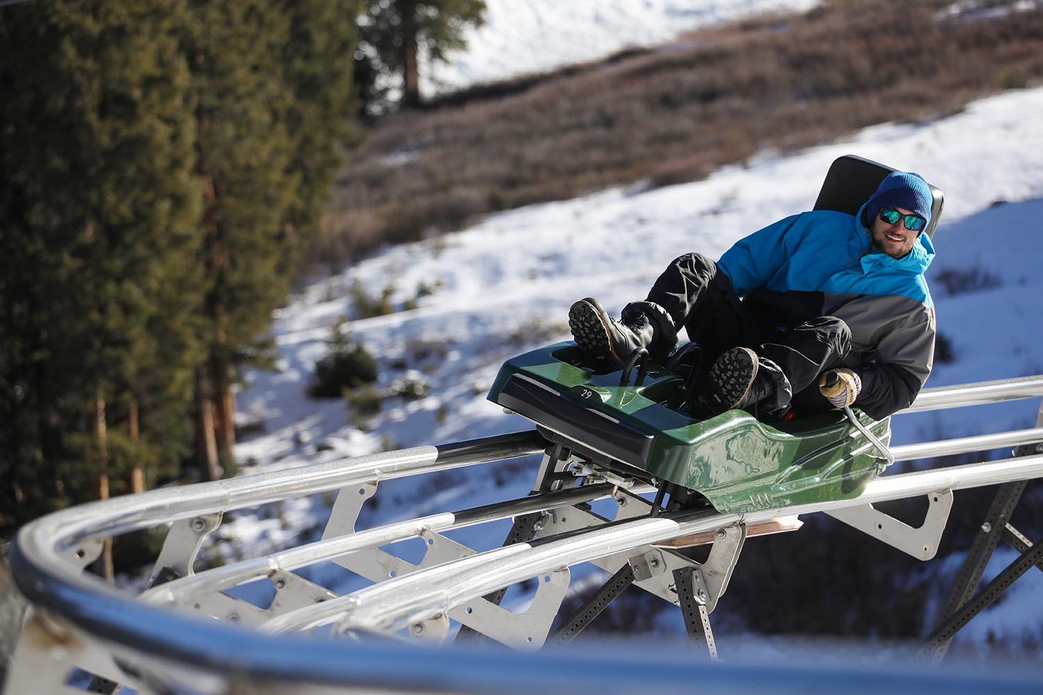 A man riding the Rocky Mountain Coaster at Copper Mountain Resort in Colorado