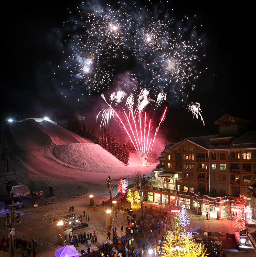 A view of fireworks at Copper Mountain Resort on Christmas Eve, Colorado ski resort