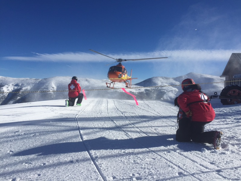 Flight for Life takes off from Patrol Headquarters at the top of Copper Mountain