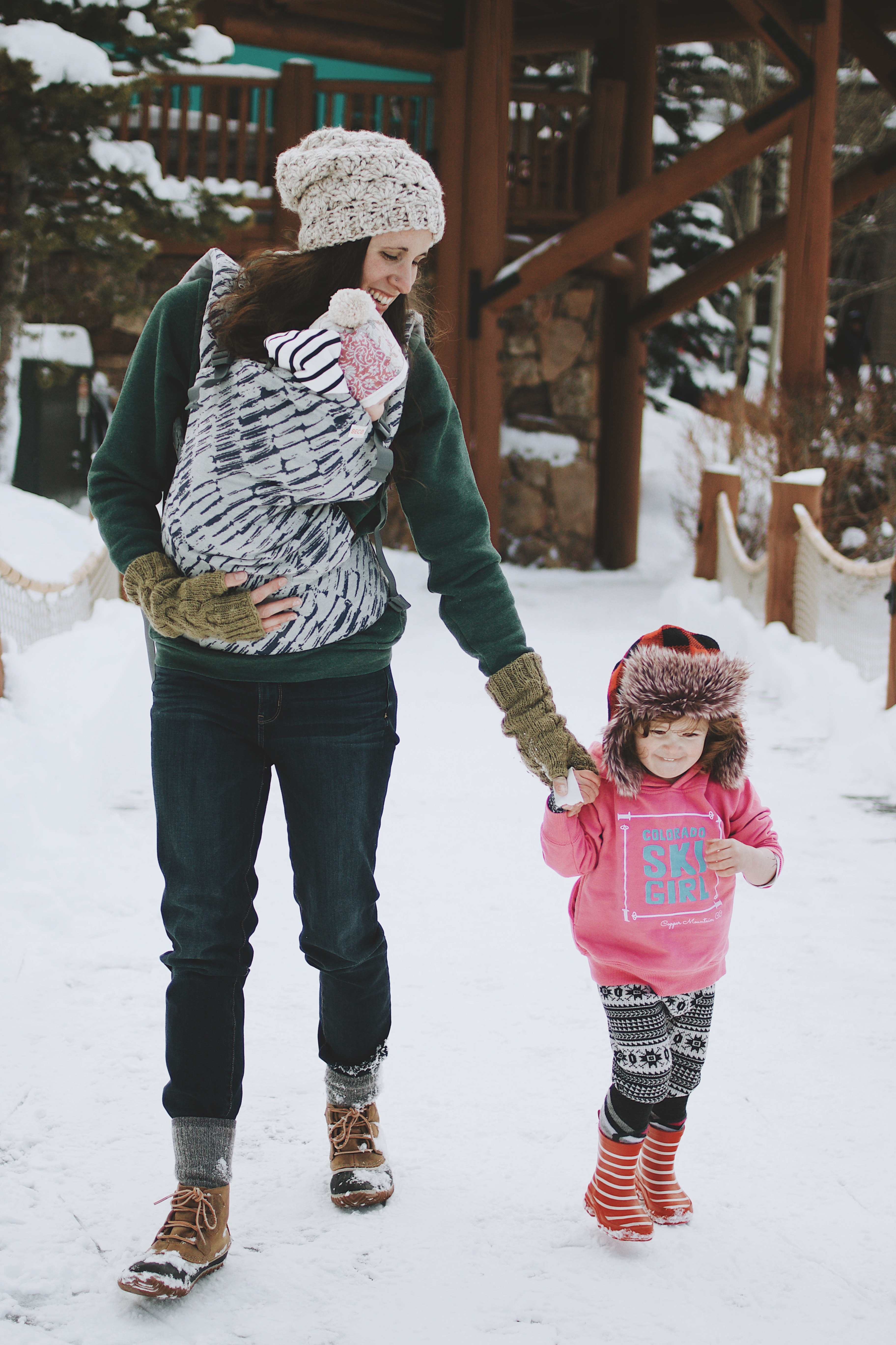 Kayla Petering and daughters walk in the snow at Copper West Lake, Copper Mountain Colorado