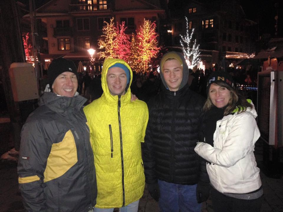 Blogger Tracy Greenhalgh, her husband and her two sons pose for a photo on Christmas Eve at Copper Mountain Ski Resort, Colorado