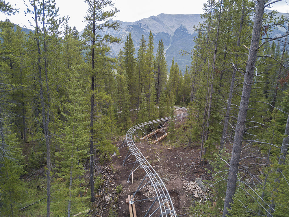 An aerial view during the summer of the Rocky Mountain Coaster at Copper Mountain
