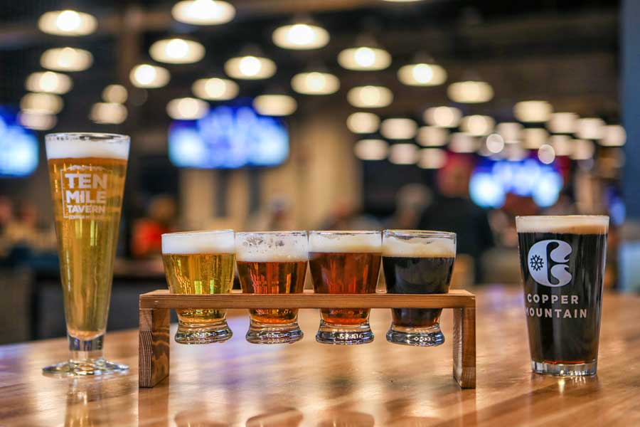 A flight of beers at Copper Mountain's Ten Mile Tavern