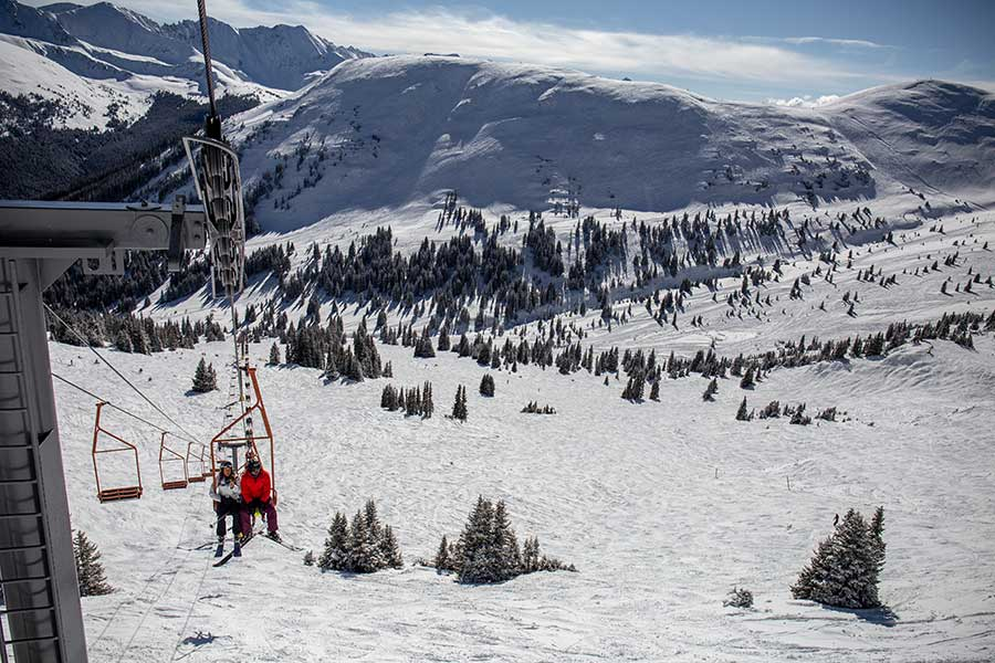 A look at the Mountain Chief chairlift in Copper Bowl at Copper Mountain