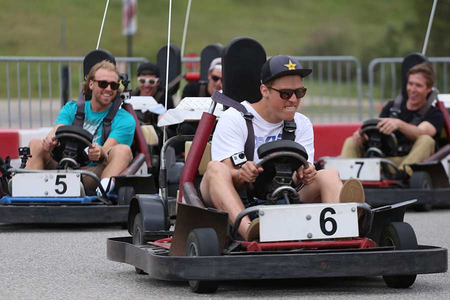 People race around the go-kart track at Copper Mountain in Colorado