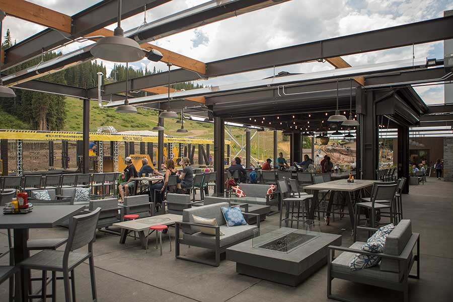 A view of the patio of Downhill Duke's at Copper Mountain