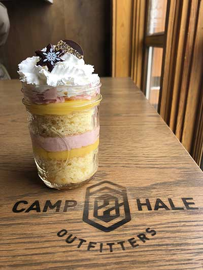 A delicious mason jar cake from Camp Hale at Copper Mountain