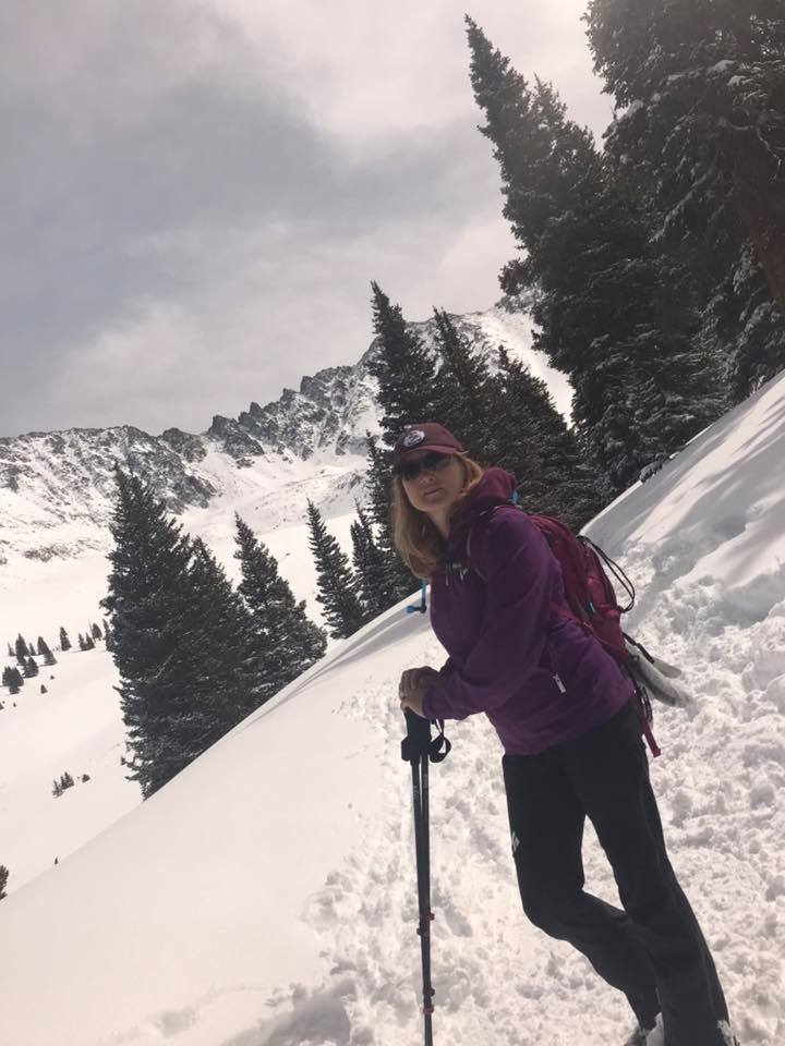 Childcare Manager Jennifer Young takes to Mayflower Gulch for a snowshoe outing