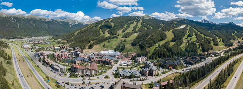 A scenic birds eye view of Copper Mountain in Colorado during the summer